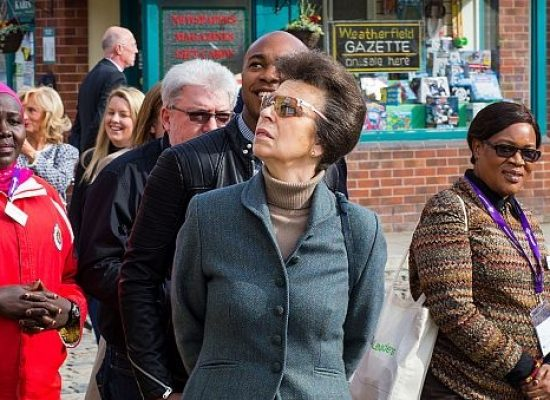 Princess Anne visits the set of Coronation Street