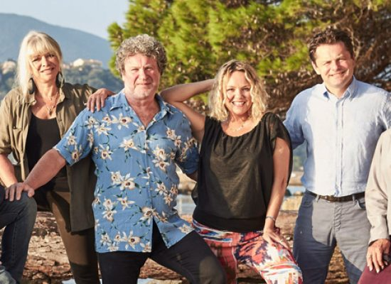 Chris Hollins, Jo Wood, Nitin Ganatra, Sue Johnston, Rory McGrath and Charlie Brooks head to the Corfu Cookery School