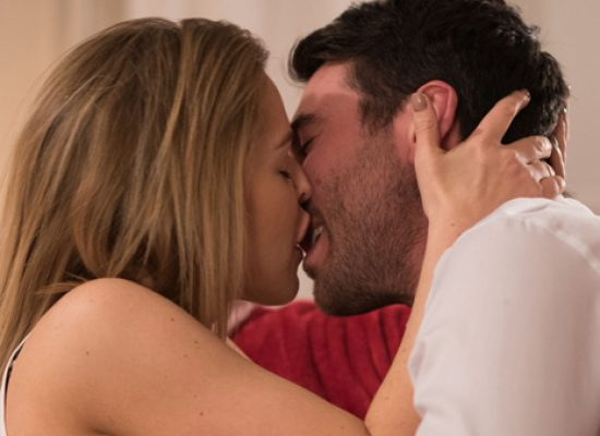 Cindy takes Damon down the hatch in Hollyoaks snog