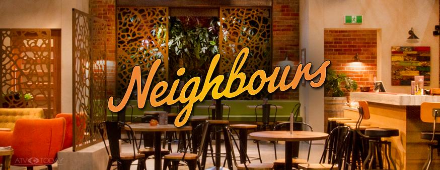 Neighbours Logo with Waterhole Pub backdrop