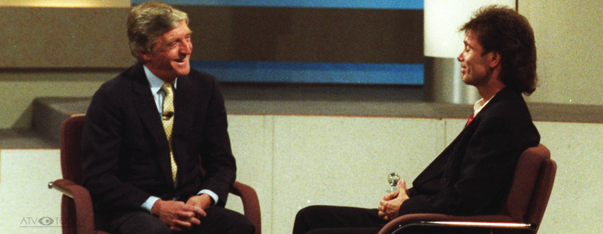 Michael Parkinson talks to Cliff Richard at YTV on his chat show in 1987
