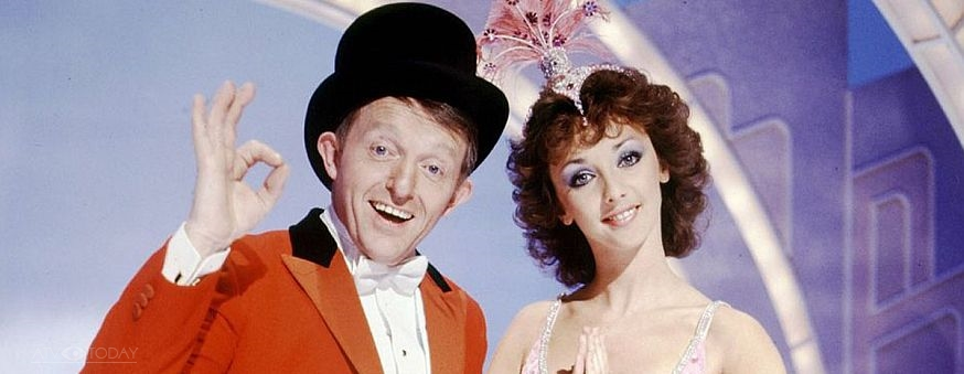 Paul Daniels and Debbie McGee on the BBC's The Paul Daniels Magic Show 1985
