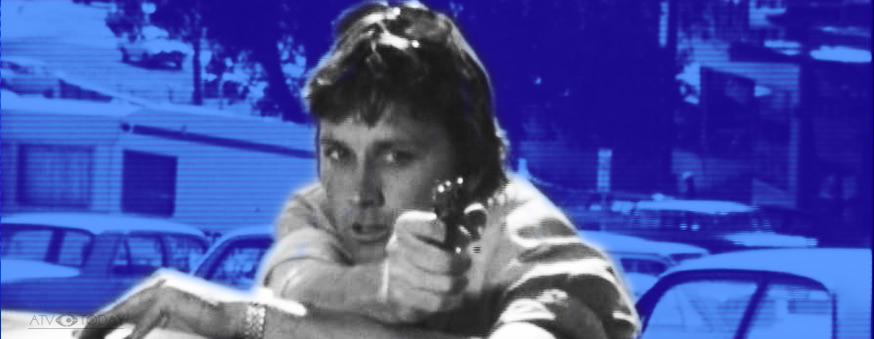 Matlock Police Steve York (played by Tom Richards) has a rotten crim in his sights.