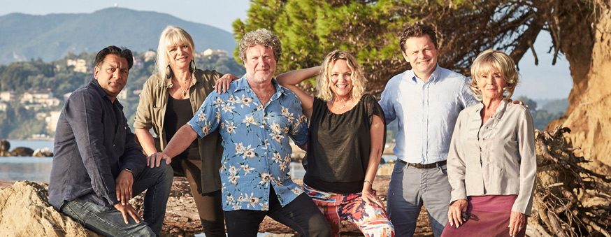 Chris Hollins, Jo Wood, Nitin Ganatra, Sue Johnston, Rory McGrath and Charlie Brooks as they all head to the island of Corfu.