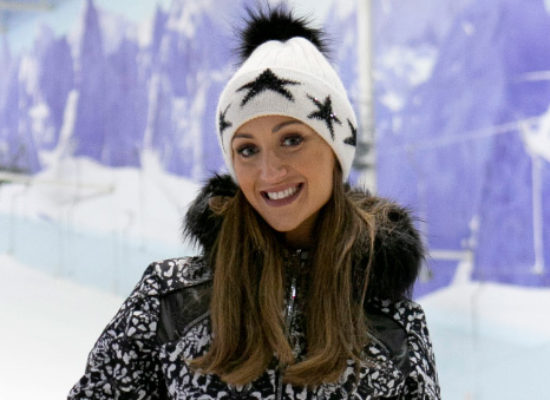 Catherine Tyldesley takes to the slopes